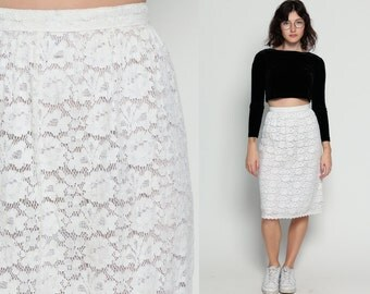 White Lace Skirt 80s Midi Hippie GUNNE SAX High Waisted 70s Boho White Bohemian Wiggle Pencil Party Summer Vintage Hipster Extra Small xs
