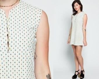 Floral Mini Dress 60s Mod Hippie Shift Button Up White Sleeveless 70s Day Dress 1960s Boho Vintage Bohemian Twiggy Green Yellow Small