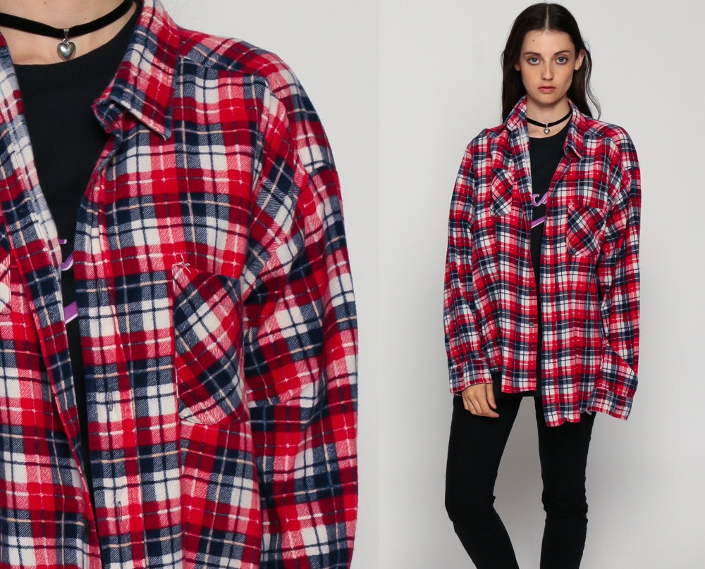 Oversized flannel shirt 80s plaid shirt red white blue 90s for Oversized red plaid shirt