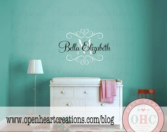 ON SALE Personalized Name Wall Decals - Shabby Chic Baby Nursery Vinyl Wall Decal with Initial Name and Heart Accents