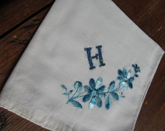 """Lovely """"H"""" monogram in blue on White Hanky/Handkerchief. Blue Floral Embroidery"""