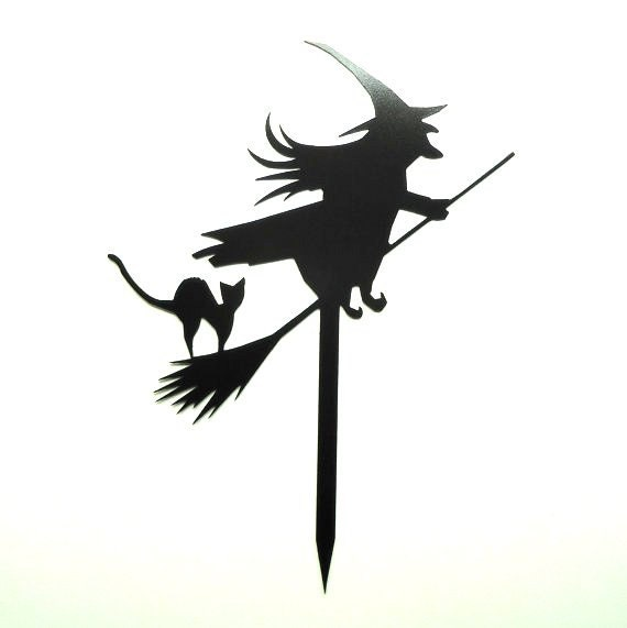 Witch on Broom with Black Cat Metal Art Halloween Yard Garden Sign - Free USA Shipping