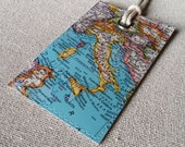 Italy original vintage map luggage tag