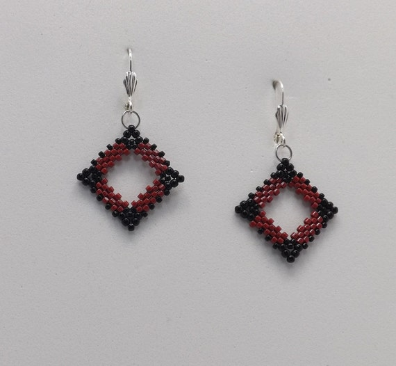 Red and Black Square Peyote Stitch Beaded Earrings with Lever Back earwires Sku: ER1023
