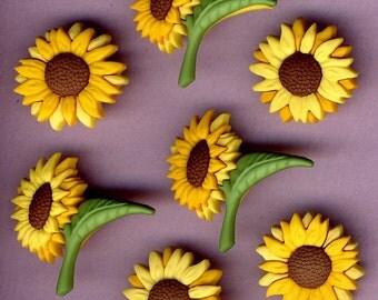 FALL BLOOMS - Flowers Sunflowers Summer Garden Novelty Dress It Up Craft Buttons