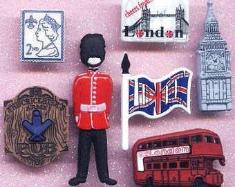 ENGLAND London Bus Big Ben Postage Stamp Soldier Guard Dress It Up Craft Buttons