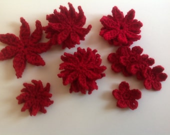 Crochet Flowers Handmade Flower Embelishments Red Crochet Flower appliqués  - set of 20