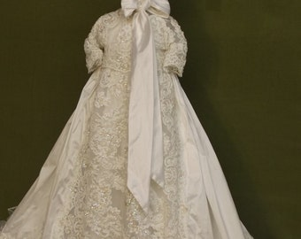 Lilliana ivory silk Christening gown set by Angela West Handcrafted Heirloom gown set