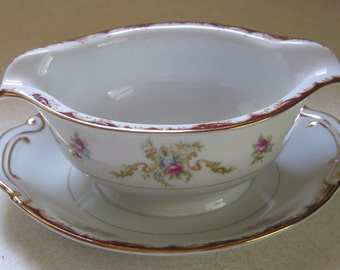 Vintage Harmony House Gravy Dish, Attached Plate, Rose Floral Pattern, Wembley, Gold Maroon Trim, Perfect Condition