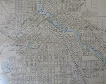 1891 City Map-Minneapolis/Omaha - Antique Atlas Page 2-Sided 11 x 14.5 in Unframed Wall Decor