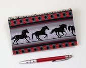 Horses Checkbook Cover for Duplicate Checks with Pen Holder on Cotton Fabric, Gray and Red Southwest Cheque Book