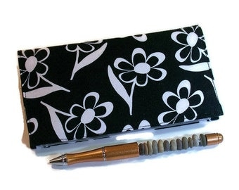 Checkbook Cover for Duplicate Checks, White Daisies on Black Cotton Fabric