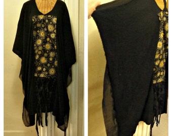 Sun Astrology Dress Caftan M, L, Thru 6X Black Lagenlook Silk Sari Ribbons Celestial Print Plus Sizes Gypsy Woman Halloween Wiccan