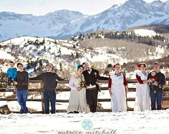 Mountain Wedding Dress S, M, L, XL Thru Plus Sizes Maxi Gown Western Bows Rustic Destination Winter Romantic Bridal Patisserie Custom