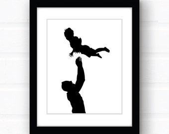 Full Body Silhouette Portrait as a DIY Printable PDF, Silhouette Art, Custom Silhouette, Child Silhouette