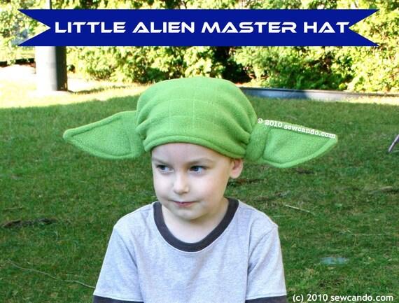 Fleece Yoda Inspired Little Alien Master Child or Adult Size Hat