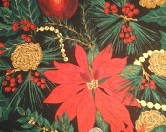 Sale Poinsettia Pinecones w Metallic Gold by Fabri Quilt 100% Cotton Quality Fabric 1yard