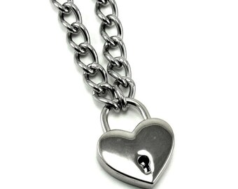 V-Day SALE Gothic Lolita Heart Padlock Necklace - Prisoner of Love - Classic Version - Silver Toned with Working Key
