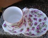 Fine Bone China Cup & Saucer Plate Set Crown Victorian Staffordshire England Gold Trim
