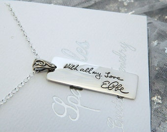 Handwriting Jewelry Rectangular Handwriting Necklace in Memory Signature Jewelry in Sterling Silver