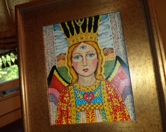 Original Art Painting Esoteric 3rd Eye Angel Portrait Framed Acrylics on Panel