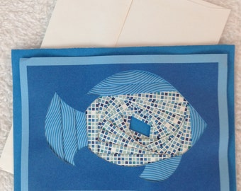 """Blue Fish, Note Card, hand crafted, 5"""" x 7"""", inside blank, Iris paper folding technique"""