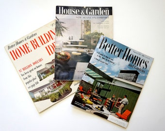 Suzy Homemaker Magazine Set 1950s / House and Garden and Better Homes and Gardens Magazine  / Featuring Atomic Home Decor and Retro Ads