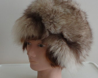 70s Fox Fur Women Hat 70s Size Medium 22 1/2 inches Warm Fluffy Vintage