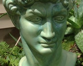 Planter, house plant, head pot, head planter, Greek god, bust, green, patina, silver, garden decor, unique