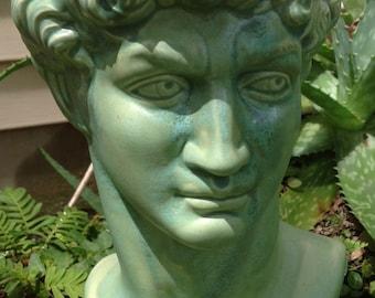 Planter, house plant, head pot, head planter, Greek god, bust, green, patina, silver, garden decor, unique