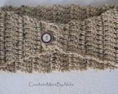 Crochet Head Band, Beige Hair Band, Hippie Chic, Dread Wrap, Bohemian Ear Warmer, Winter Fashion, Ski Band,