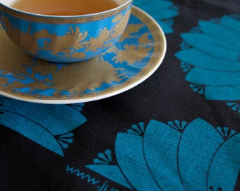 Dahlia Teal on Black Linen Tea Towel