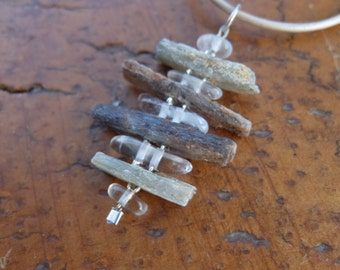 Kyanite, Quartz crystal necklace - organic natural jewelry -  ethical sourced & handmade in Australia -