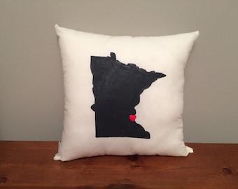 Minnesota Pillow with Customizable Heart