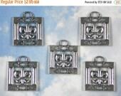 SALE 5 Fleur de Lis Square Frame Watch Fob Antiqued Silver Tone Charms Pendants (P000)