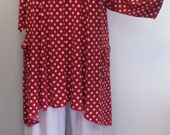 Coco and Juan,  Lagenlook,  Plus Size Top, Red Polka Dot Traveler Knit Trapeze Tunic,  Size 1 (fits 1X/2X)  Bust 50 inches
