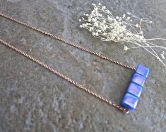 Rose Gold Horizontal Slim Bar Charm with Iridescent Cobalt Blue Square Glass Cabochons