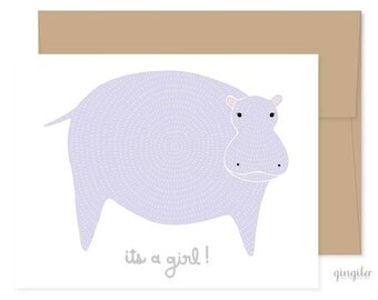 Pregnancy Card, Gender Reveal, New Baby Card, Gender Reveal Card, Its A Girl, Gender Reveal, Baby Hippo, Congrats Card, Mothers Day Card
