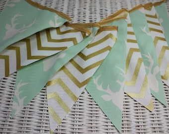 Free USA Shipping/Mint Green and Gold Chevron Fabric Banner/Wedding Banner/Photo Prop/Banner/Nursery Banner/Deer Fabric Banner/Gold Party