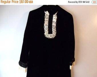 ON SALE 50% OFF Velvet little black dress, ascot dress, maid costume style party frock