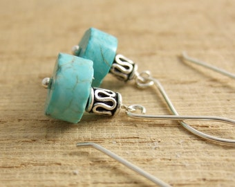 Earrings with Large French Wires, Turquoise Rondelles and Bali Beads HE-329