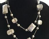 Vintage Chunky Hammered Metal Modernist Necklace