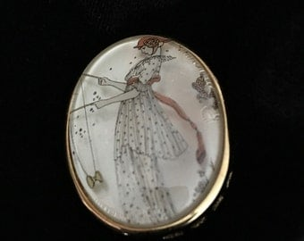 Vintage Victorian Revival Brooch Woman Fishing