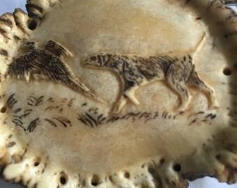 Vintage Carved Hunting Dog & Pheasant by Geo H Scannell Belt Buckle