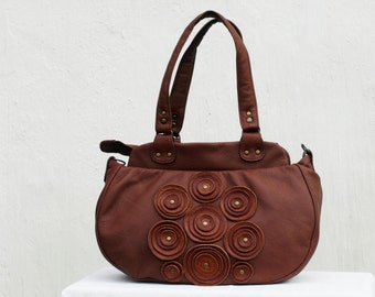 Brown Leather Shoulder Bag, Brown Leather Bag, Leather floral Bag, Women's Handbag, iPad Satchel Purse Shoulder Bag, gift for