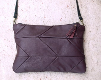 chevron leather messenger bag, Chevron leather Purse, medium leather messenger, dark deep purple