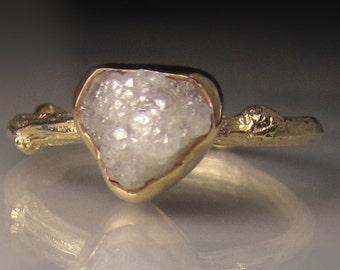 Raw Diamond Engagement Ring, 14k Yellow Gold Diamond Twig Ring, Raw Diamond Ring, Twig Engagement Ring, 2.40CTS