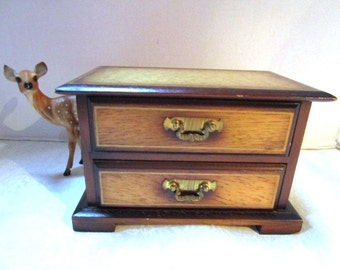 Vintage Wood Chest Jewelry Music Box, 2 Pull Out Drawers Love Story Theme Song Sankyo Music Box Workings Boudoir Bride Treasures SKK Japan