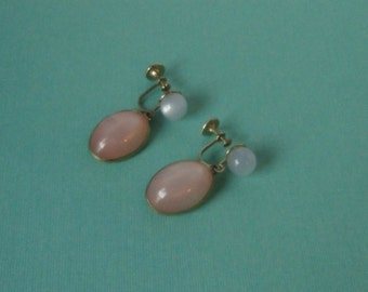Mid century Pale Pink and White Moonglow  Earrings.