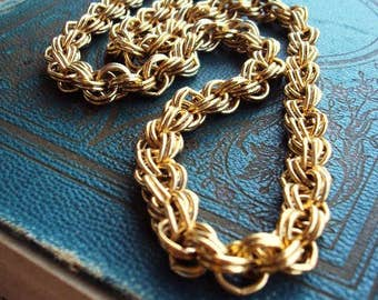Vintage Chain Necklace Charm Necklace Links Antique Gold Chunky Statement Chain Mod Modernist 1960s 60s Costume Jewelry